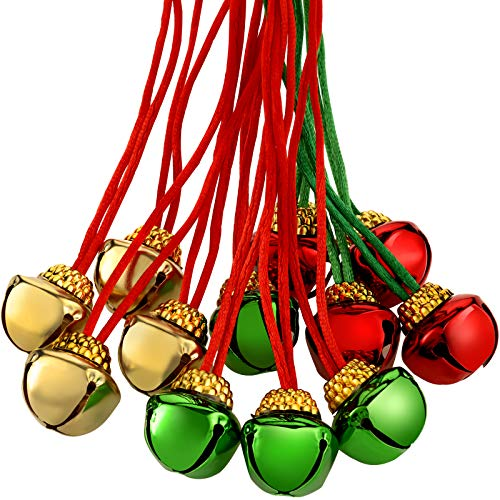 36 Pieces Christmas Bell Necklaces Christmas Holiday Necklaces for Christmas Supplies (Gold, Red, Green)