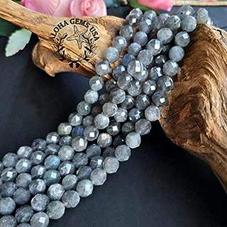 [ABCgems] Rare Brazilian Labradorite (Beautiful Flash) 12mm Faceted Round Beads for Beading & Jewelry Making