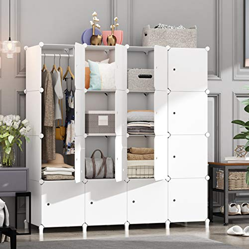 HOMEYFINE Portable Wardrobe for Bedroom, Storage Organizer Cube Closet, Modular Plastic Cabinet Armoire with Hanging Rail, White(16 cube)