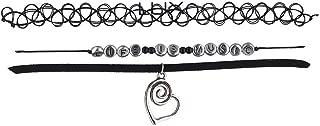 Women's Black Classic Choker Collar Necklace 3Pc Set