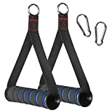 RENRANRING Resistance Bands Handles with Screw Thread, Comfortable Ultra Heavy Duty Foam Grips with Solid ABS Cores, Durable Big Carabiners for Exercise Bands Workout(1 Pair) (Blue)