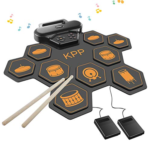 Electronic Drum Set,Roll Up Drum Pads Kit with Headphone Jack Built-in Speaker,Drum Pedals,Drum Sticks,Foot Pedals,Gift for Christmas Holiday Birthday for Kids