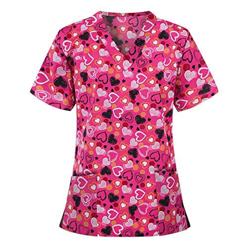 Krankenpflege Uniform Sommer Damen V-Ausschnitt Nurse Kurzarm Tops mit Doppelt Taschen Pflege T-Shirts Gute Qualität Schlupfkasack Arbeitskleidung Berufskleidung Krankenhauskleidung Schlupfhemd Kasack