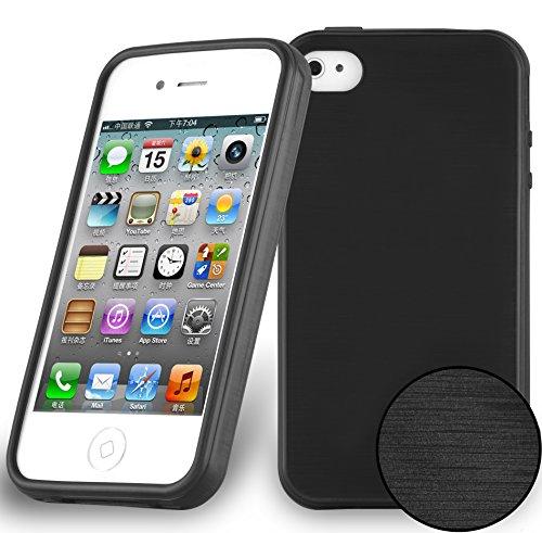 Cadorabo Coque pour Apple iPhone 4 / iPhone 4S en Noir DE Jais - Housse Protection Souple en Silicone TPU avec Anti-Choc et Anti-Rayures - Ultra Slim Fin Gel Case Cover Bumper