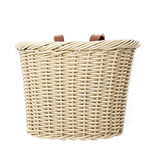 OURLITIME Bicycle Basket, Vintage Wicker Bicycle Basket with Tan Leather Straps Front Handlebar Rattan Basket for Childrens Boys Girls Bike