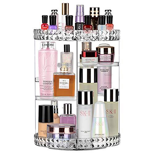 JessLab Kosmetik Organizer, 360° Drehbar Verstellbare Cosmetic Make up Organizer Make-up Kosmetikbox Karussell Pinsel Lippenstifthalter für Badezimmer Eitelkeit, Multifunktion und Große Kapazität