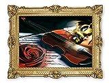 Lnxp Wunderschönes Gemälde 90x70 cm Künstler: Rajco *Geige Frau in Maske Rote Rose * Bild Bilder Barock Rahmen Antik Repro Renaissance