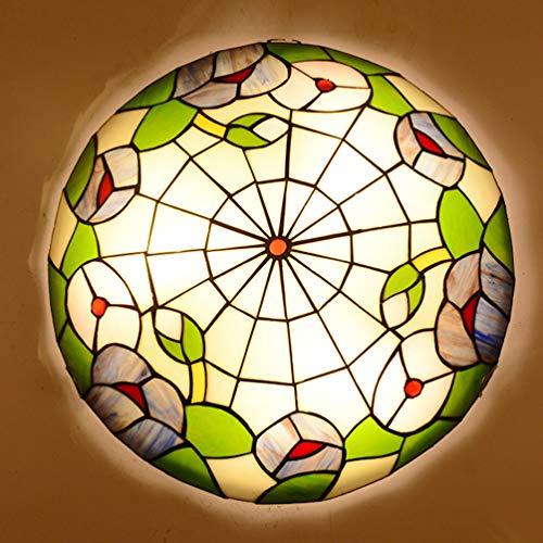 ACHNC Plafoniera Tiffany,Colorata Lampada da Soffitto Ristorante retrò,Plafoniera Soffitto Camera da Letto con Paralume in Vetro Verde,Cucina Soggiorno Bagno Corridoio Ceiling Lamp,E27,40CM