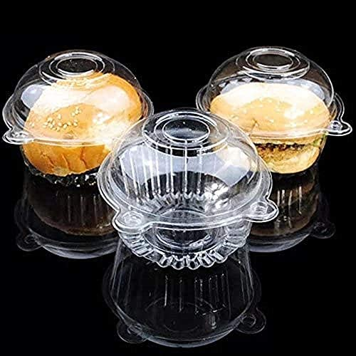 100 Transparent Muffin Containers Single Plastic Dome Box Paper Cup Cupcake Boxes Single Cupcake product image