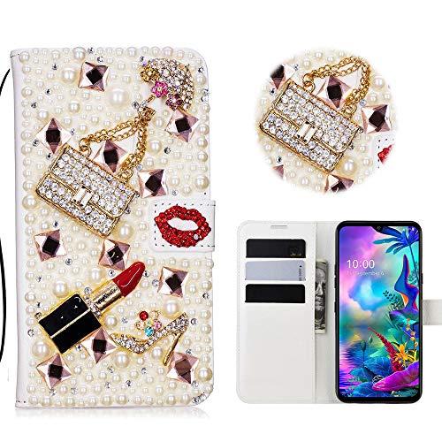 Glitzer 3D Bookstyle Lederhülle LG G8X ThinQ, LG G8X ThinQ Wallet Hülle Handytaschen Handgemachte Kristall Strass Brieftasche PU Ledertasche Handschlaufe Schutzhülle Kristall Rote Lippen Lippenstift