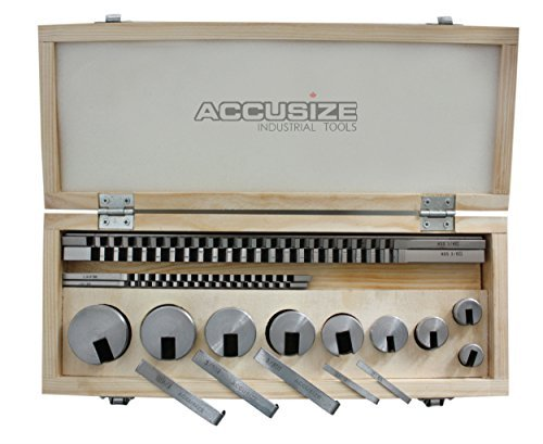 Accusize Industrial Tools No.10 18 Pcs Hss Keyway Broach Sets in Fitted Box, 5100-0010