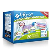 Hibag Space Saver Bags, 20 Pack Vacuum Storage Bags (2Small, 6 Medium, 5 Large, 5 Jumbo, 2 Jumbo+) with 2 Free Roll Up Bags and 1 Free Hand Pump