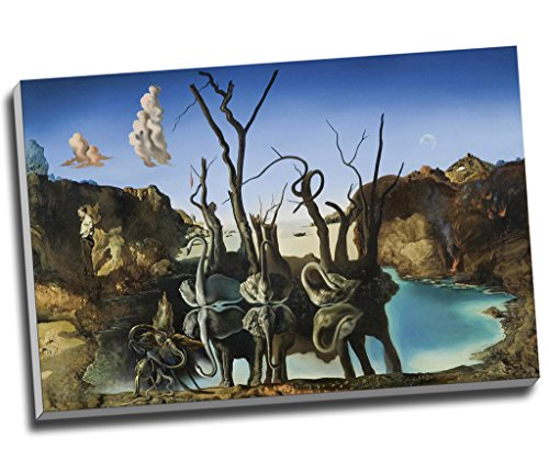 Impression sur toile représentant l'œuvre Cygnes se reflétant en éléphants de Salvador Dali,grand format A1 76,2 x 50,8 cm