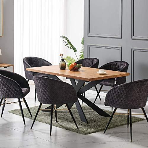 Life Interiors: Vittorio Duke Lux Dining Set | Oak Table | Black Chairs |...
