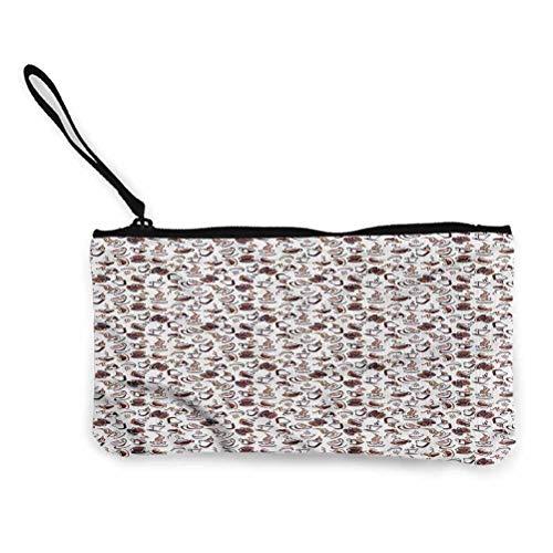 portafolios portátil de café para mujeres, adolescentes, niñas, damas de negocios de la compra, taza con platillo de arte, Style06, 8.5'x 4.5'(22cmx12cm)