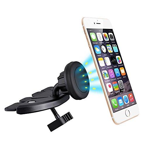 Supporto telefono auto magnetico fissaggio a la fessura della Lettura CD, con la rotazione a 360gradi, magnetico universale, compatibile per iPhone 7/Se, iPhone 66S 6Plus,, iphone 5s 5C, Huawei, Wiko, Nokia Lumia, GPS e altri smartphone
