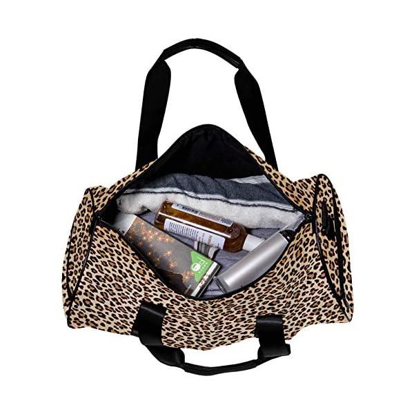 MaMacool Round Gym Sports Duffel Bag with Detachable Shoulder Strap Brown Beige Leopard Training Handbag Overnight Bag…