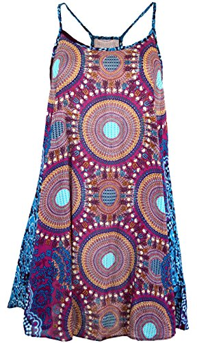Guru-Shop Boho Dashiki Minikleid, Trägerkleid, Strandkleid, Tank Top, Damen, Fuchsia/türkis, Synthetisch, Size:38, Kurze Kleider Alternative Bekleidung