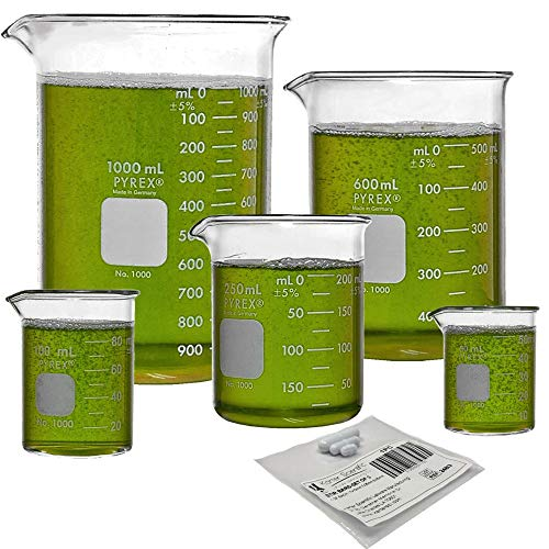 Corning PYREX #1000 Griffin Low Form, Glass Beaker Set with Magnetic Stir Bar Set - 5 Sizes - 50, 100, 250, 600, and 1000ml