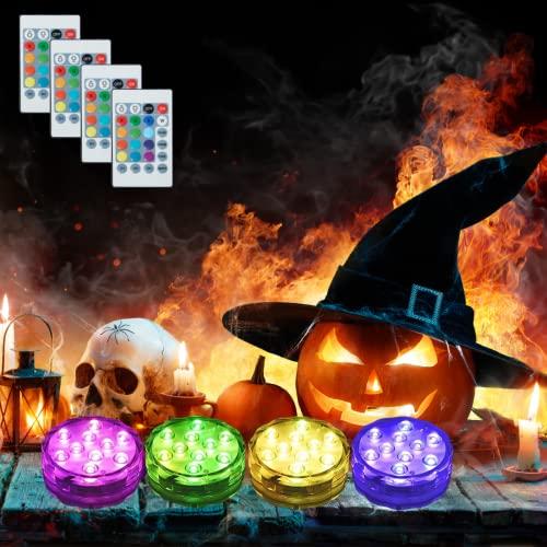 4 Pezzi Luce LED Sommergibili Luci Piscina, Luce a 13 LED RGB Impermeabile con Telecomando & Ventosa Magnetica per Giardino Cerimonia Nuziale Partito Piscina Laghetto Acquario Halloween Decorazione