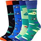 Jeasona Mens Socks Multipack Colourful Funky Dress Cotton Funny Novelty Cool Crazy 9-11 Gifts for Men (Colorful 8111-golf, 4)