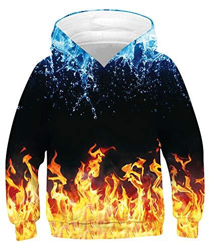 Goodstoworld Unisex Hoodie Kinder 3D Druck Hoodie für Junge Mädchen Grafik Gedruckt Hoodie Pullover Sweatshirts mit Großen Taschen 14-16 Jahre