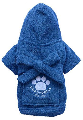 Doggy Dolly DRF019 Bademantel für Hunde, blau, Größe : XXL