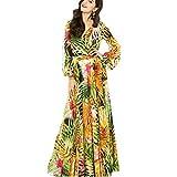 Vestido Largo Casual Mujer,Vestido Bohemio Para Mujer, Manga Larga, Cuello En V Sexy, Vendaje Cruzado, Vestido De Gasa Con Estampado Floral, Vestido De Verano, Amarillo, Vestidos Largos Hasta El Suel