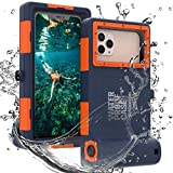 Professional 50ft Diving Phone Case for All Samsung iPhone Series, Universal Waterproof Cell Phone Cover for Outdoor Surfing Swimming Snorkeling Photo Video (Orange)