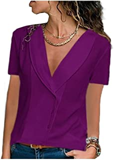 Doufine Womens V Neck T-Shirt Chiffon Loose Short Sleeve Casual Blouse Top