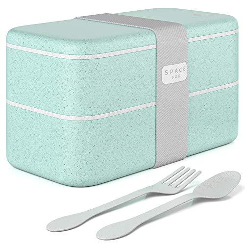 SpaceFox Bento Box mit 2 Fächern - Lunchbox Set aus Weizenstroh - umweltfreundlich & nachhaltig - Brotdose mit Besteck - spülmaschinenfest - mintgrün