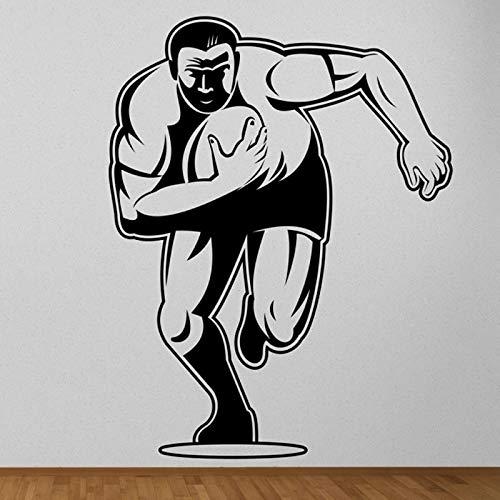 Rugby Player Wall Sticker Cartoon Plaza Rugby Gym Wall Sticker Sports