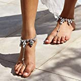 Nicute Boho Rhinestone Barefoot Sandal Anklet Crystal Silver Ankle Bracelets Wedding Summer Beach Foot Chain for Women and Girls (2 Pieces)