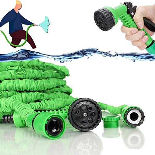Flexibler Gartenschlauch 15M 50FT Wasserschlauch Flexibel Dehnbar Wasser Garten Schlauch mit 7-Funktionen, für Rasenbewässerung/Haustierreinigung/Autowäsche (15M)