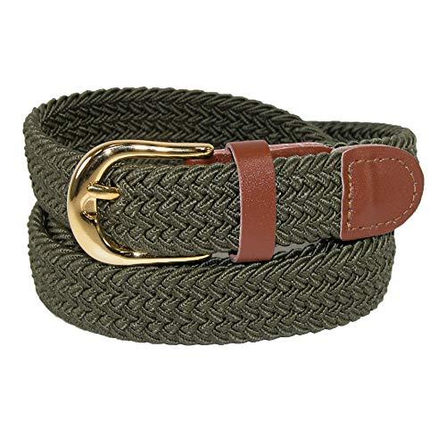 CTM Women's Elastic Braided Stretch Belt, X-Large, Olive