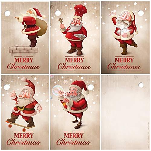 25 Geschenkanhänger Weihnachten, 52 x 74 mm / 5 lustige Weihnachtsmann-Motive je 5 St. / Weihnachtsanhänger, Anhänger, Geschenkkarten, Anhängeetiketten, Anhängeschilder von EDITION COLIBRI (Set 4)