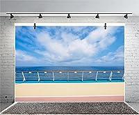 GooEoo 5x3ft 豪華クルーズ船デッキ海の景色写真背景子供の誕生日パーティーバナースタジオ小道具家族のパーティー誕生日の背景ベビーシャワーの装飾ビニール素材