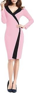 Vestiti Donna Eleganti da Cerimonia Curvy Tubino Eleganti Manica Lunga V Scollo Chic Ragazza Vintage Moda Business Partito...