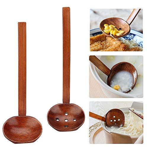 VINGVO Cucharas de Madera para cocinar, Juego de cucharas de Madera, Mango Largo, Cuchara de Madera, Juego de vajilla, cucharas medidoras de Madera, para cocinar, para Plantar, para niños, para