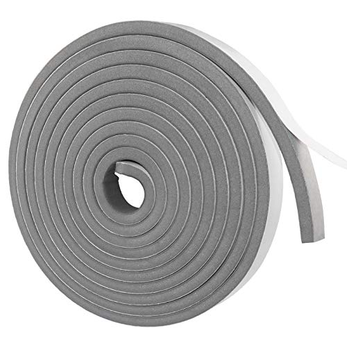 Gray Weather Stripping Door Seal Strip,Foam Insulation Tape Self Adhesive,High Density Weatherstrip AC Weather Seal for Doors and Windows Foam Rubber Seal Strip (4/5 in x 2/5 in x 16 Ft)