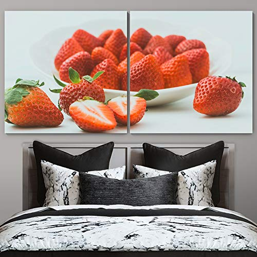 """bestdeal depot Strawberry 2 Panel Canvas Wall Art Prints for Living Room,Bedroom Ready to Hang - 24""""x24"""" x 2 Panels"""