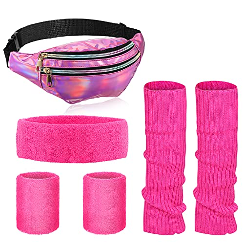 80s Workout Set with Fanny Pack, Sweatbands and Leg Warmers, Pink, Blue, Green available