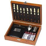 noTrash2003 Juego de petaca y juego de juego de póquer y dados en caja de madera con ajedrez – El juego perfecto para hombres