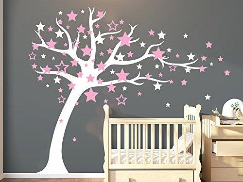 Bdecoll Stickers muraux,Arbre Mignonne Stars Sticker mural pour bébé chambre décoration/autocollant pour les enfants (Pink)