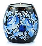 UA Creations Tealight Candle Holder Hand Painted Ethnic Floral Design Christmas Home décor Accent Gift for Table, Fireplace, Living Room, Office or Ethnic Restaurant (Black and Blue)