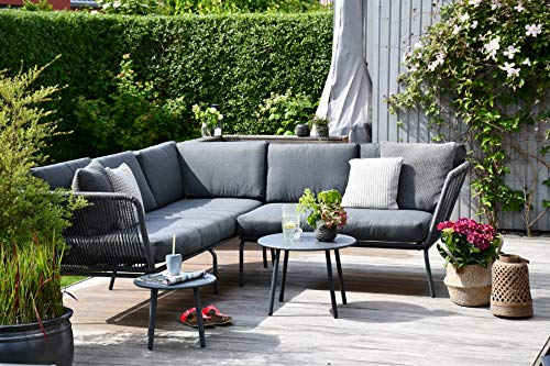 Outzone LoungeDich Outdoor Gartensofa Retro, Garten-Lounge aus Poly-Rattan, Loungeset, Sofa-garnitur, Balkonmöbel mit Zwei Bestell-tischen Grau Anthrazit