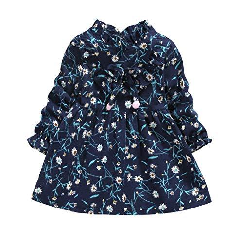 Vestido de bebé niña, niño pequeño bebé niños niñas cuello de muñeca fruncido vestido de lazo floral ropa casual azul marino 18-24 meses, vestido de bebé recién nacido grandes ventas