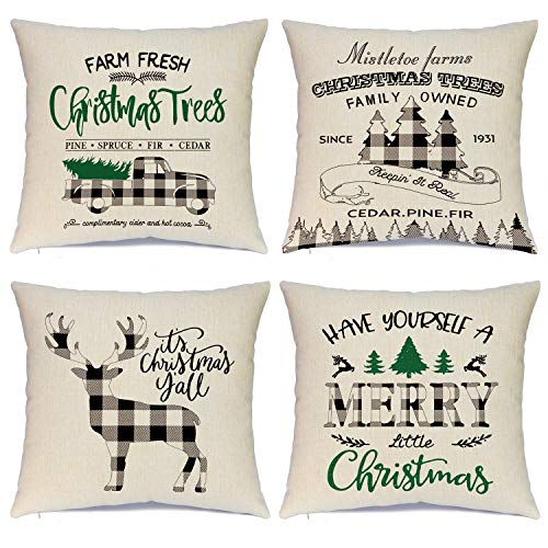Hlonon Christmas Pillow Covers 18 x 18 Inches Set of 4 - Xmas Snowman Series Cushion Cover Case Pillow Custom Zippered Square Pillowcase (Christmas)