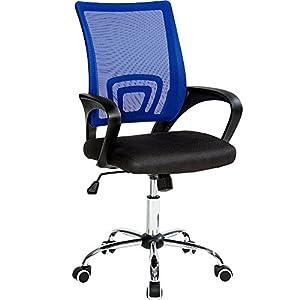 TecTake Silla de Oficina giratoria con Soporte Lumbar sillón Ejecutivo Silla de Escritorio tejid (Negro Azul   No. 401791)