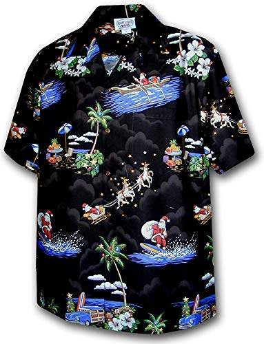 P.L.A. Original Camisa Hawaiana, Christmas Allover, negro XL